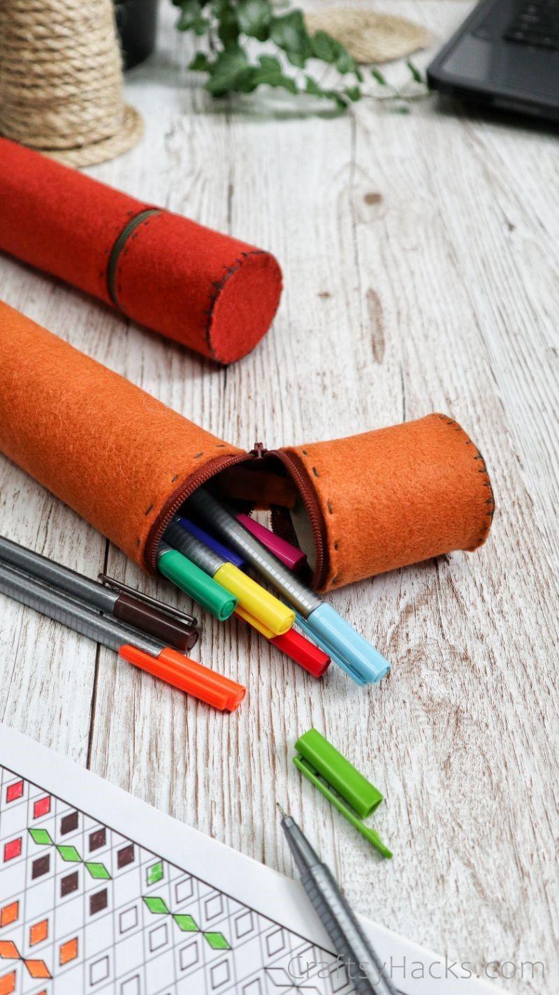 diy pencil case with colored pens