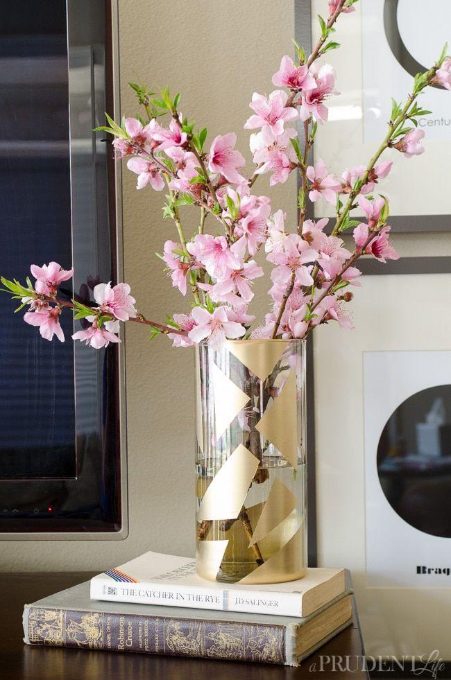 Gold Color-Blocked Glass Vase