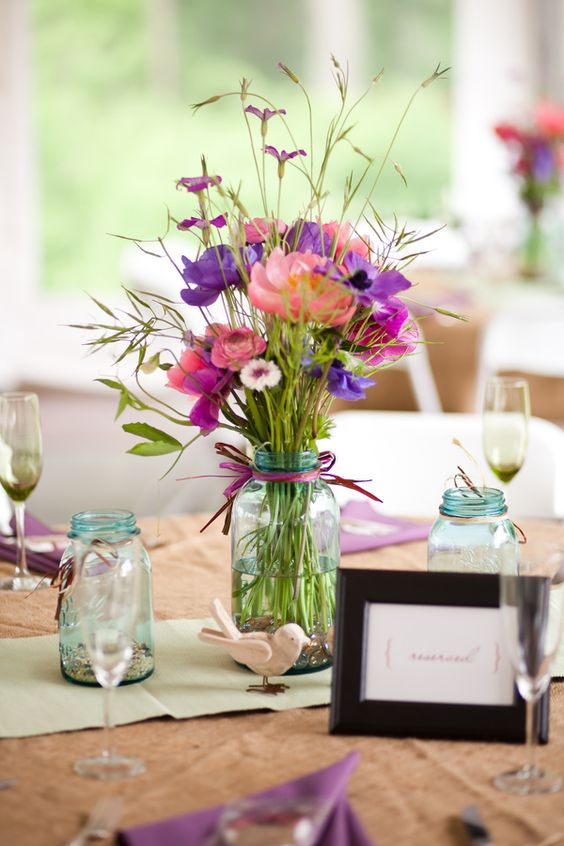 Spring Arrangement Mason Jar Centerpiece