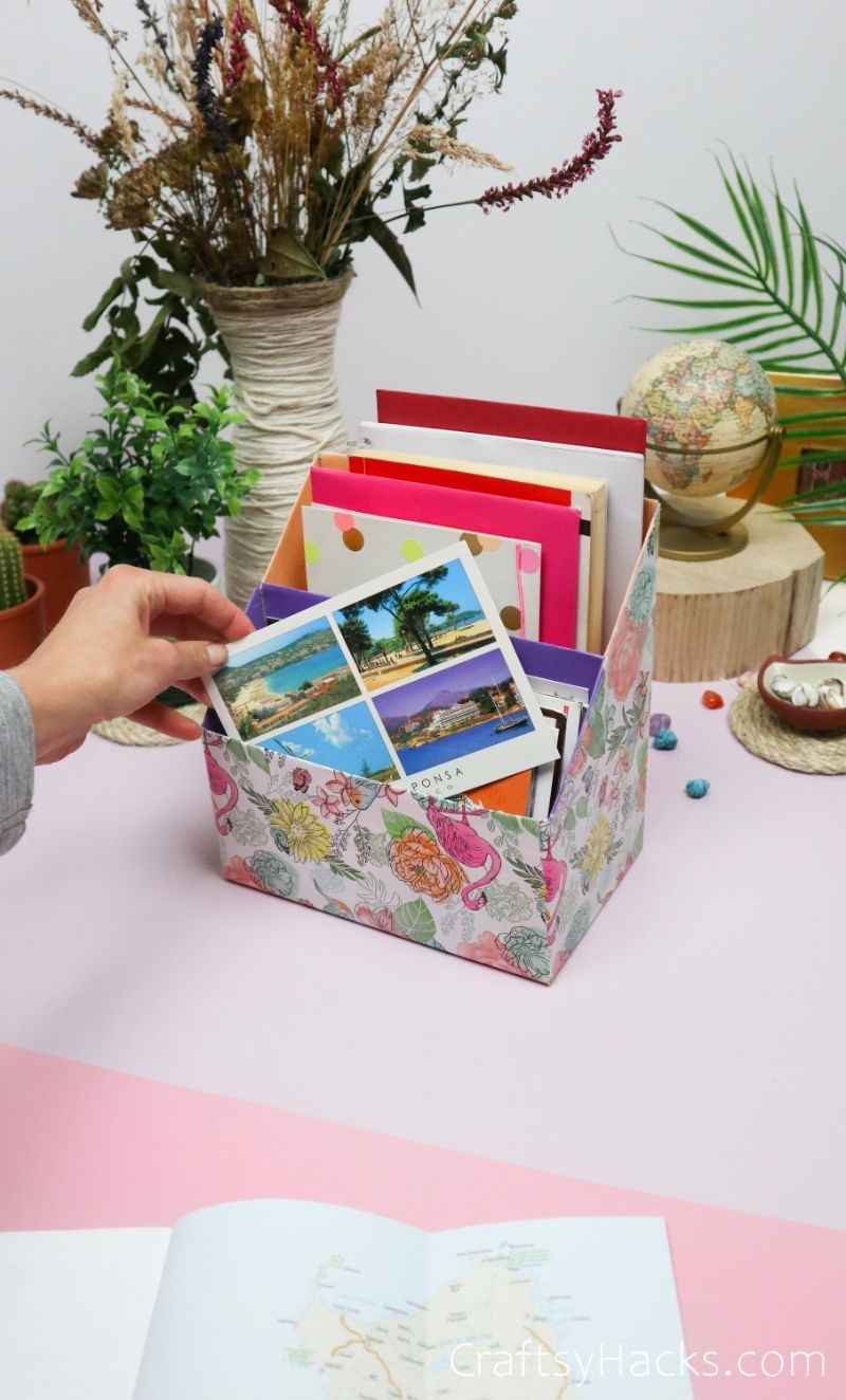 postcard in diy organizer