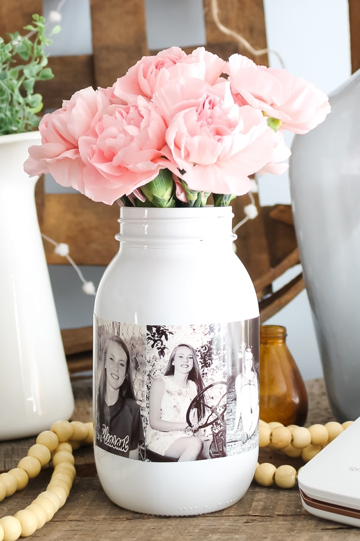 DIY Photo Mason Jar Centerpiece