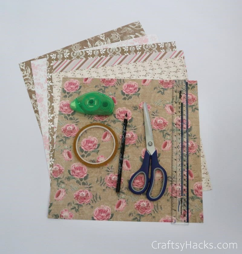 patterned cardstock and craft supplies