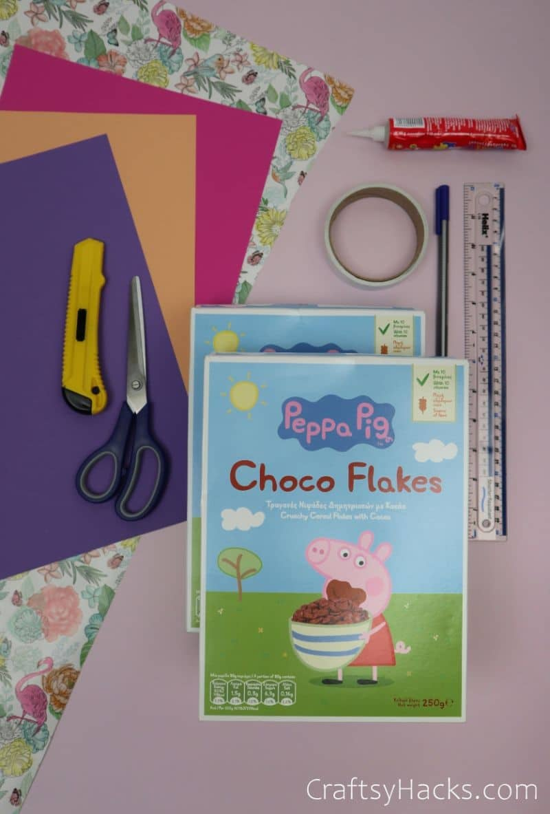 cereal boxes and craft supplies