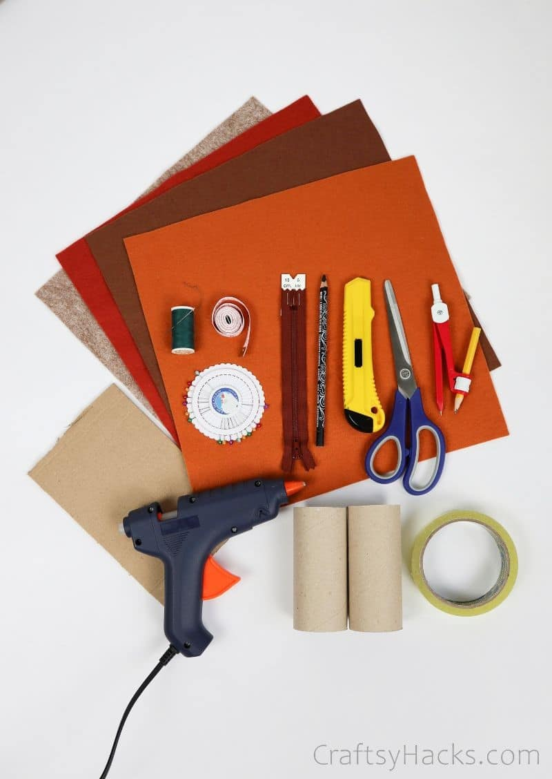 felt sheets and craft supplies
