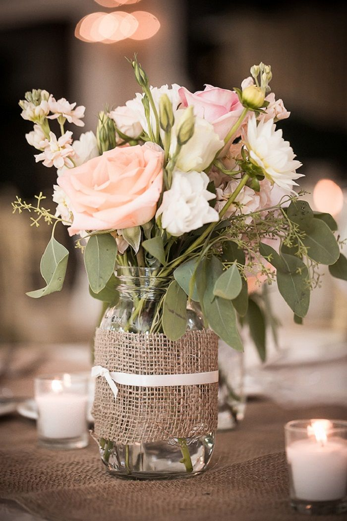 Burlap-Wrapped Mason Jar Vases