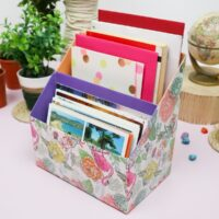 diy desk organizer out of cereal boxes featured