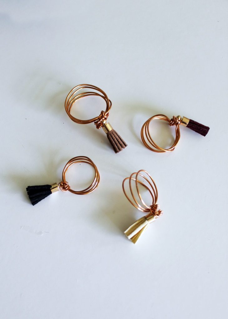 DIY Wire Ring with Leather Tassels