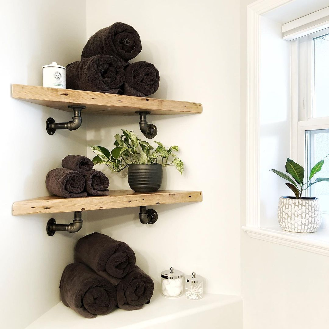 Reclaimed Wood Corner Shelves