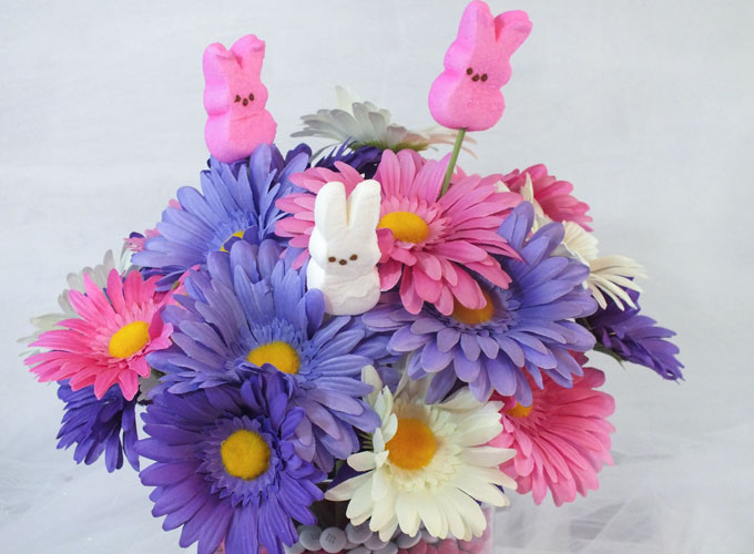 Peeps with flowers