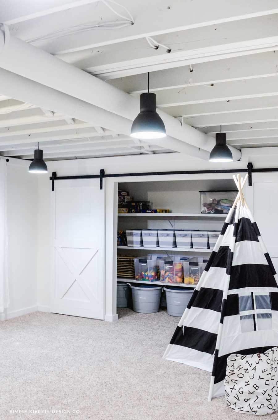 basement closet with sliding door