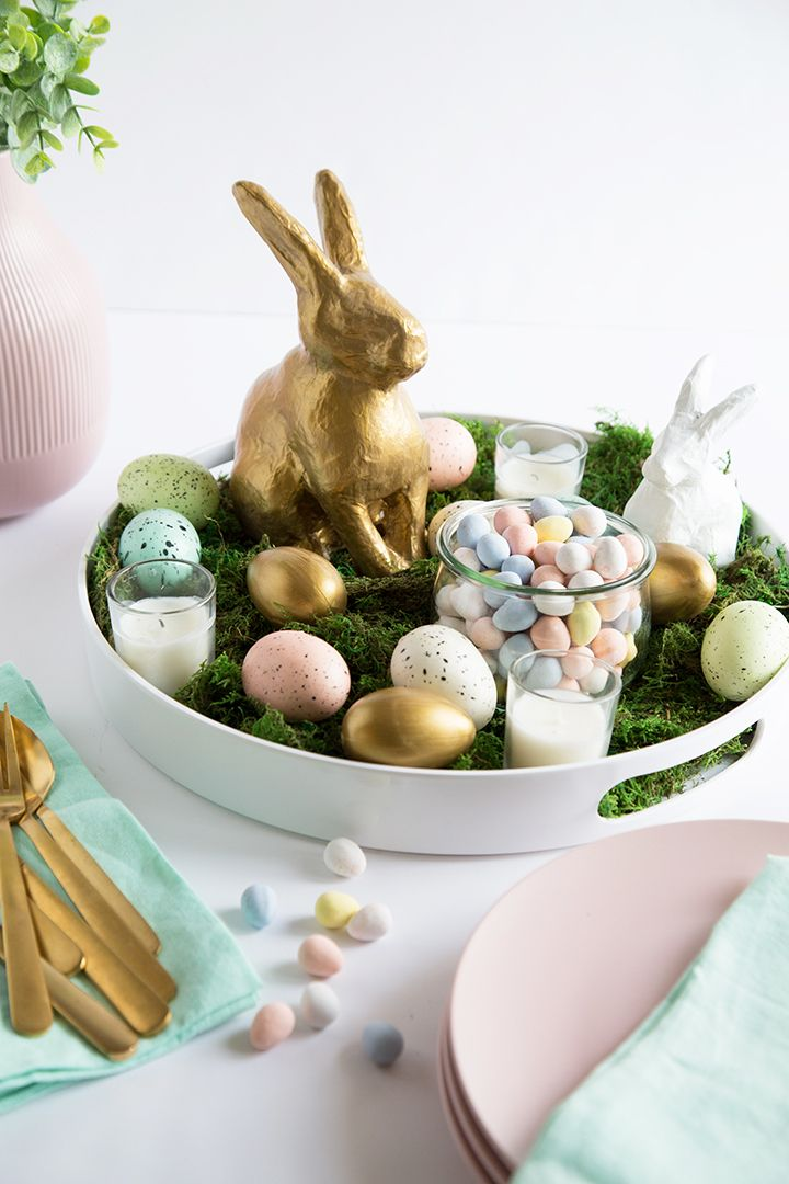 Centerpiece tray with gold bunny