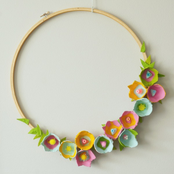 Egg Carton Embroidery Hoop Wreath