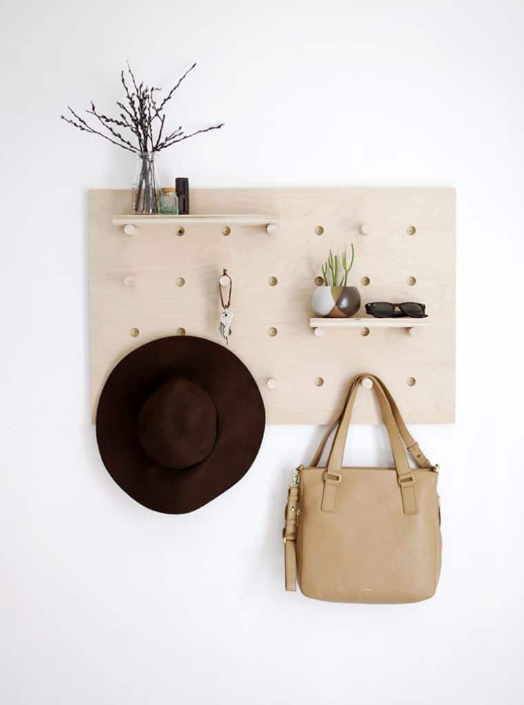 Wooden Pegboard Wall Organizer