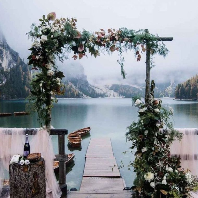 Tuscan-Inspired Lakeside Arch