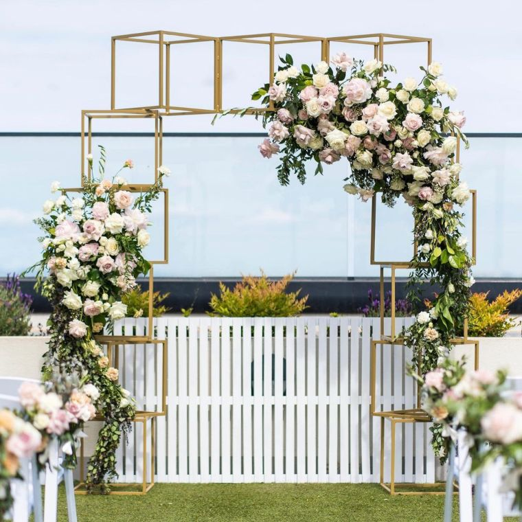 Golden Box Arch with Flowers