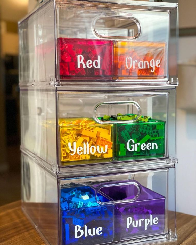 Color-Coded Acrylic Stacking Drawers