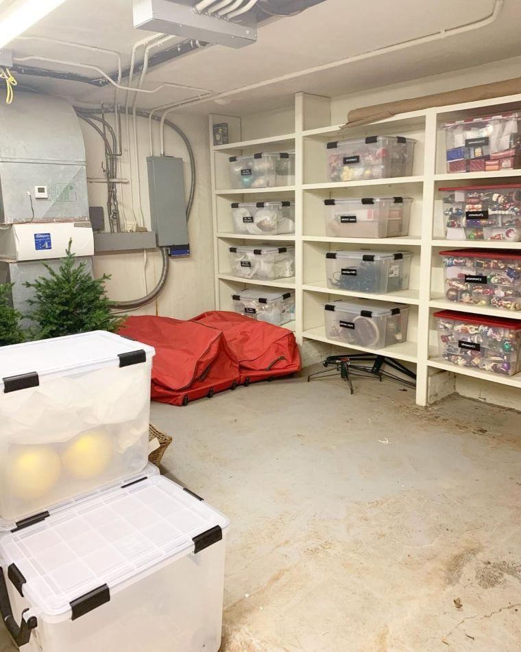Organized bins on shelves