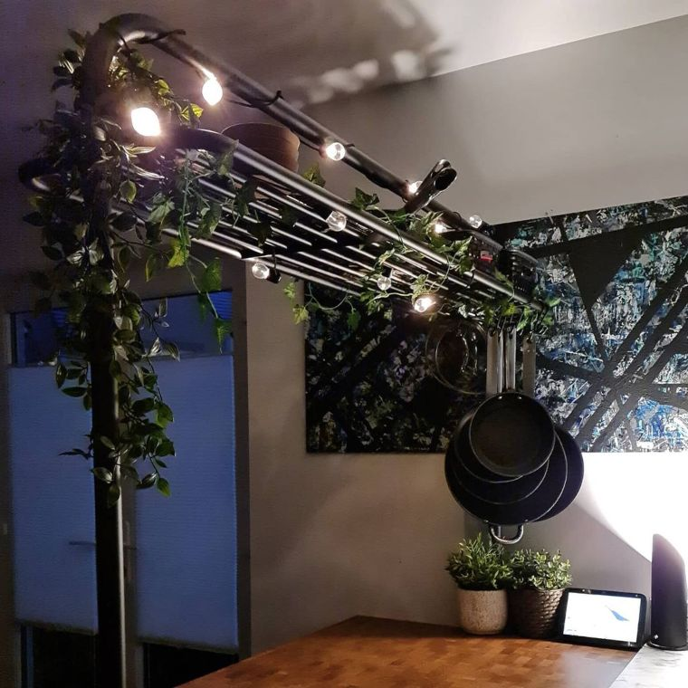 lights hanging from kitchen island
