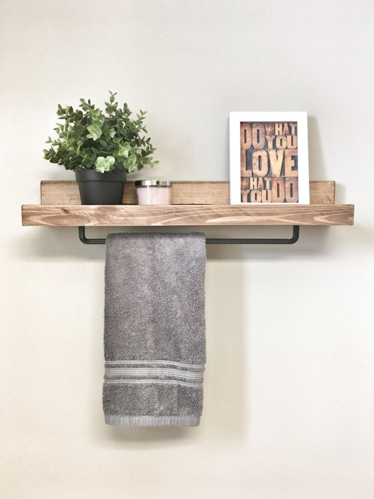 Wooden Shelf and Towel Rail