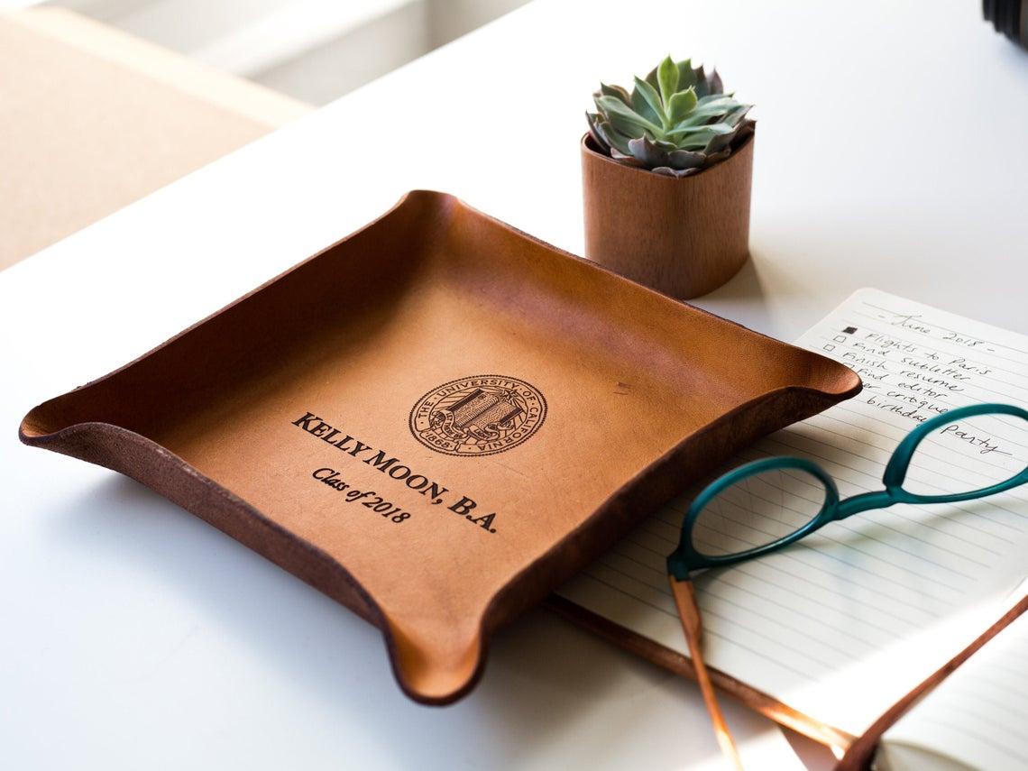 custom leather tray
