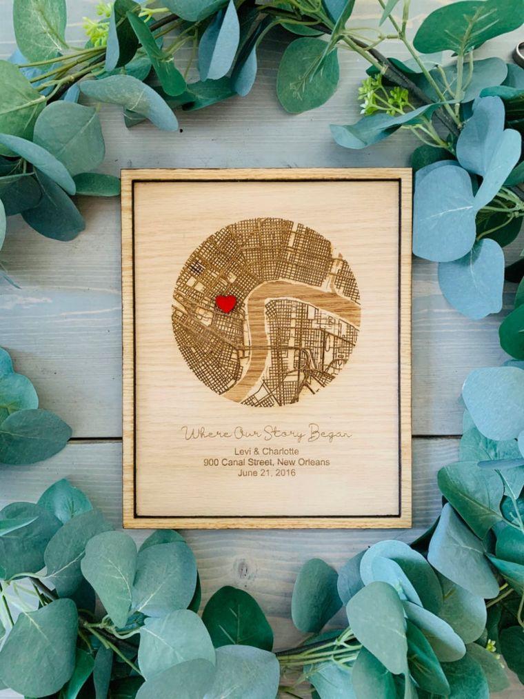 wood map print