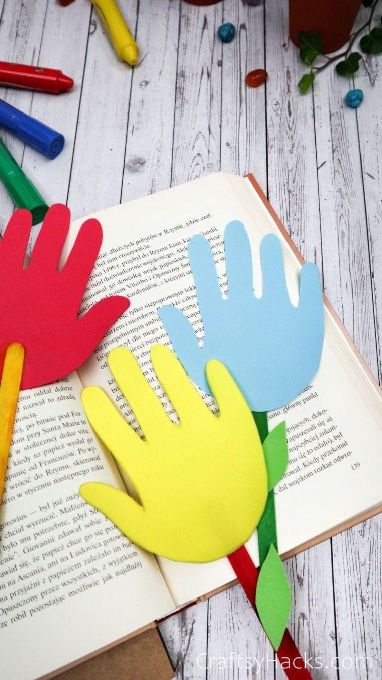 Paper Handprint Bookmarks