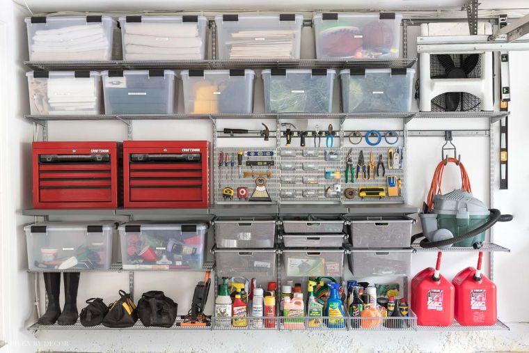 storage bins and shelves