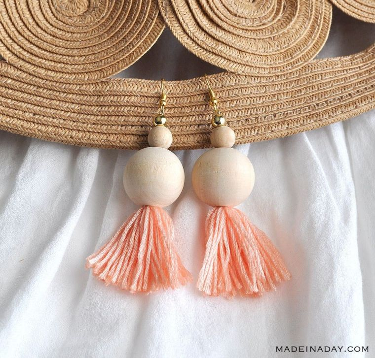 Wooden Tassel Earrings