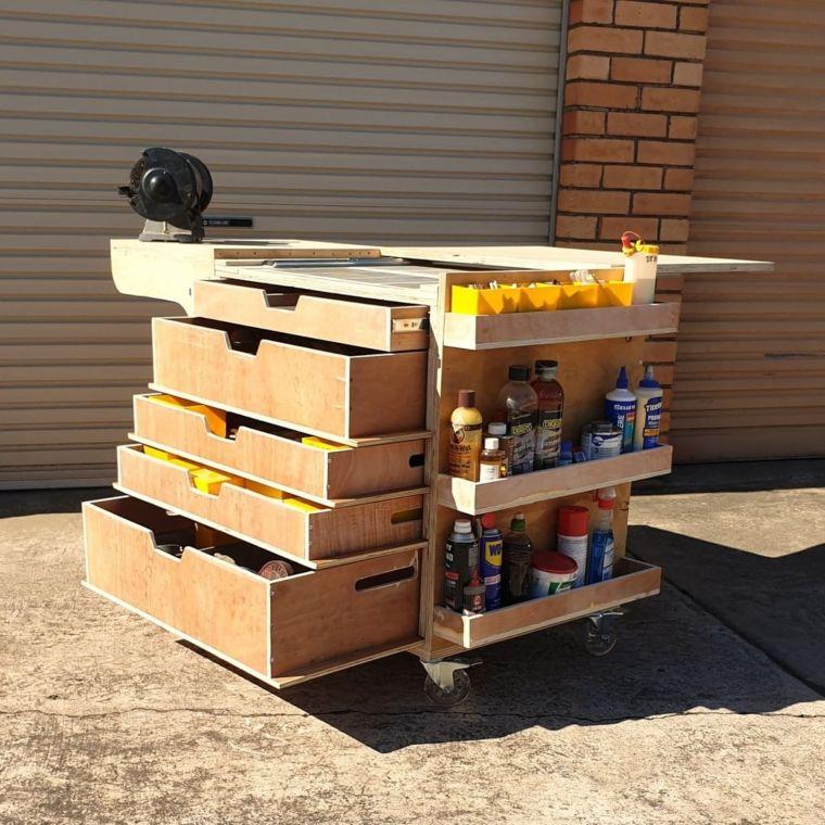wooden tool cart