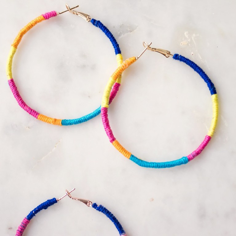 Rainbow-Wrapped Hoops