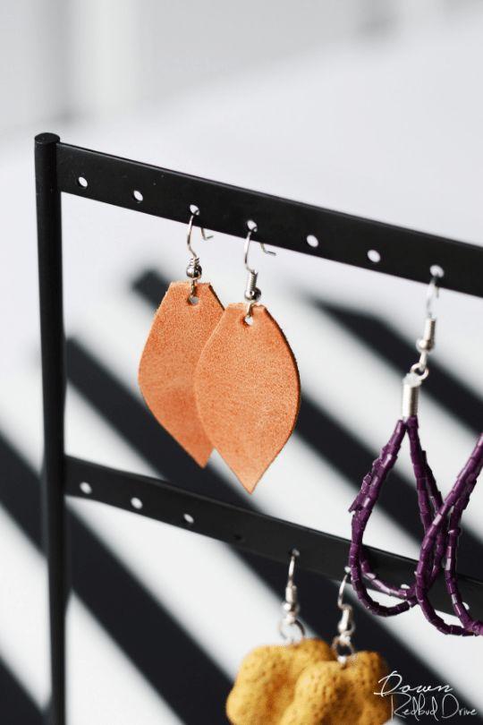 DIY Leather Dangle Earrings