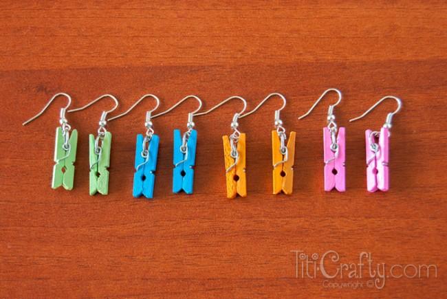 Mini Clothespin Earrings