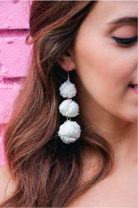 Pom-Pom Statement Earrings