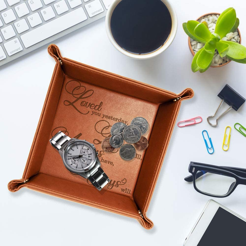 engraved leather accessories tray