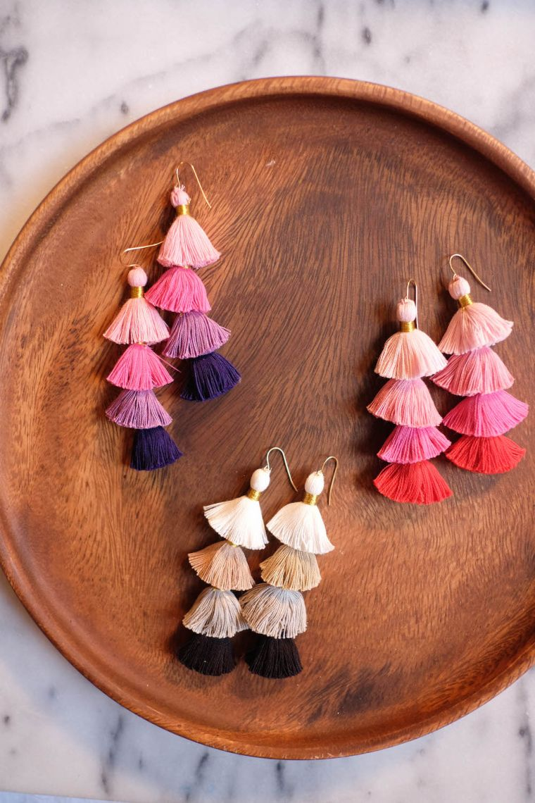 Multicolor Stacked Tassel Earrings