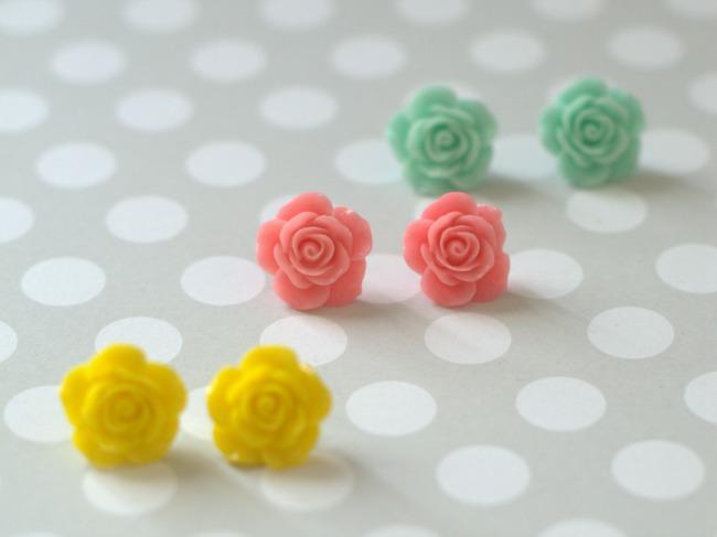Spring Rose Flower Studs