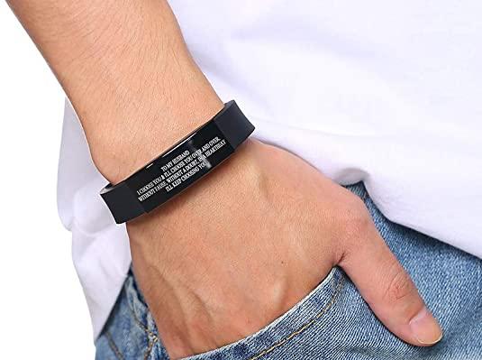 black silicone quote bracelet