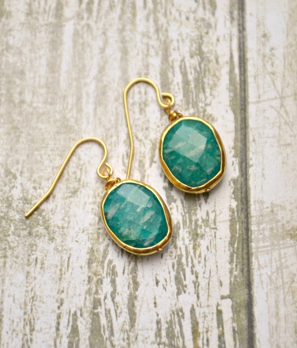 Gold-Plated Gemstone Earrings