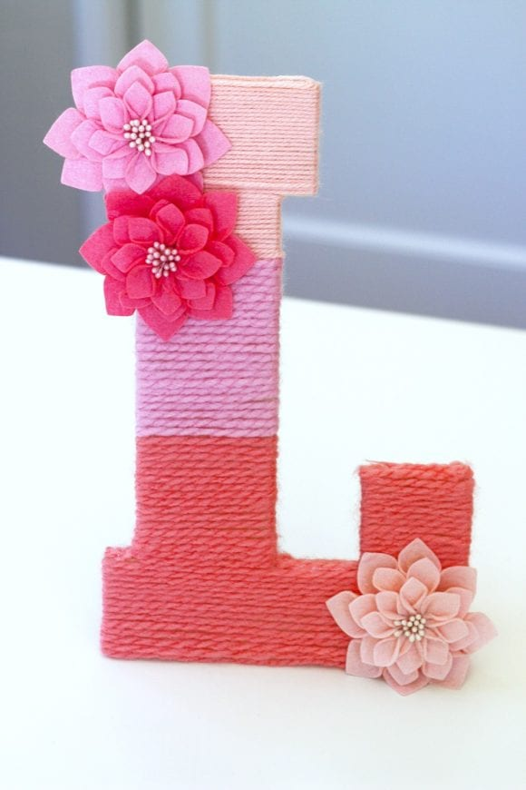 Yarn-Wrapped Ombre Letter