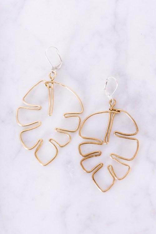 Monstera Wire Earrings