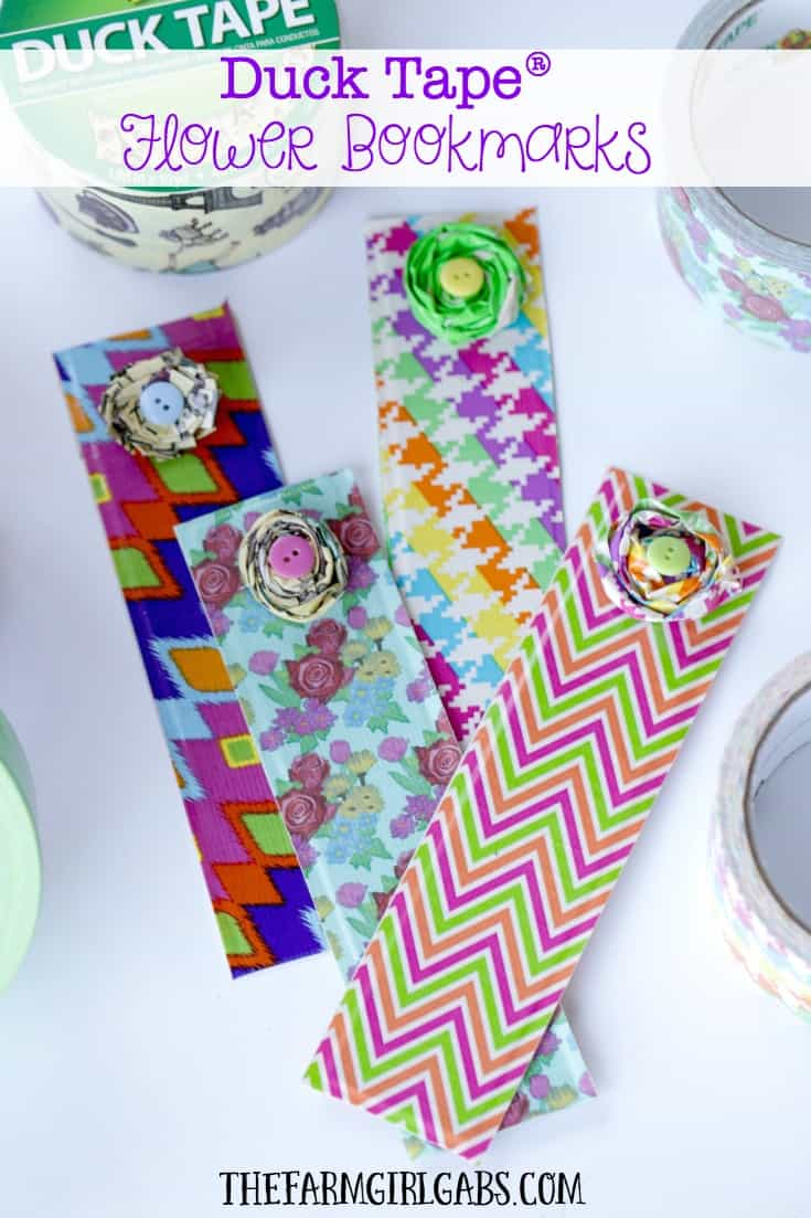 Duct Tape Flower Bookmarks