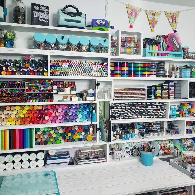 desk with many shelves