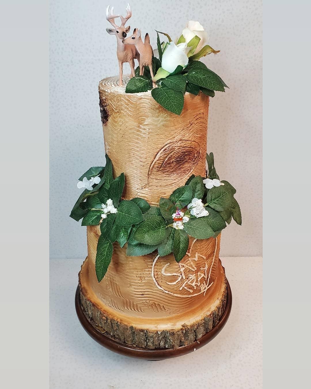deer and tree cake