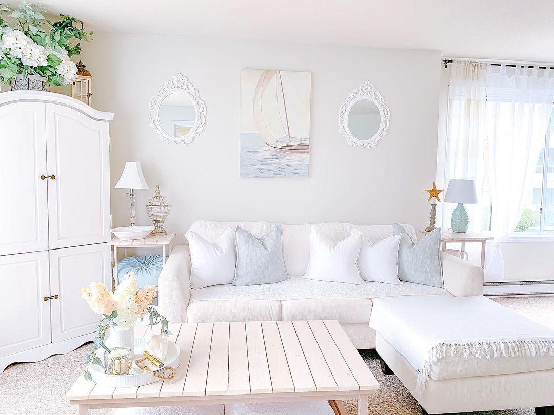 light sea themed living room