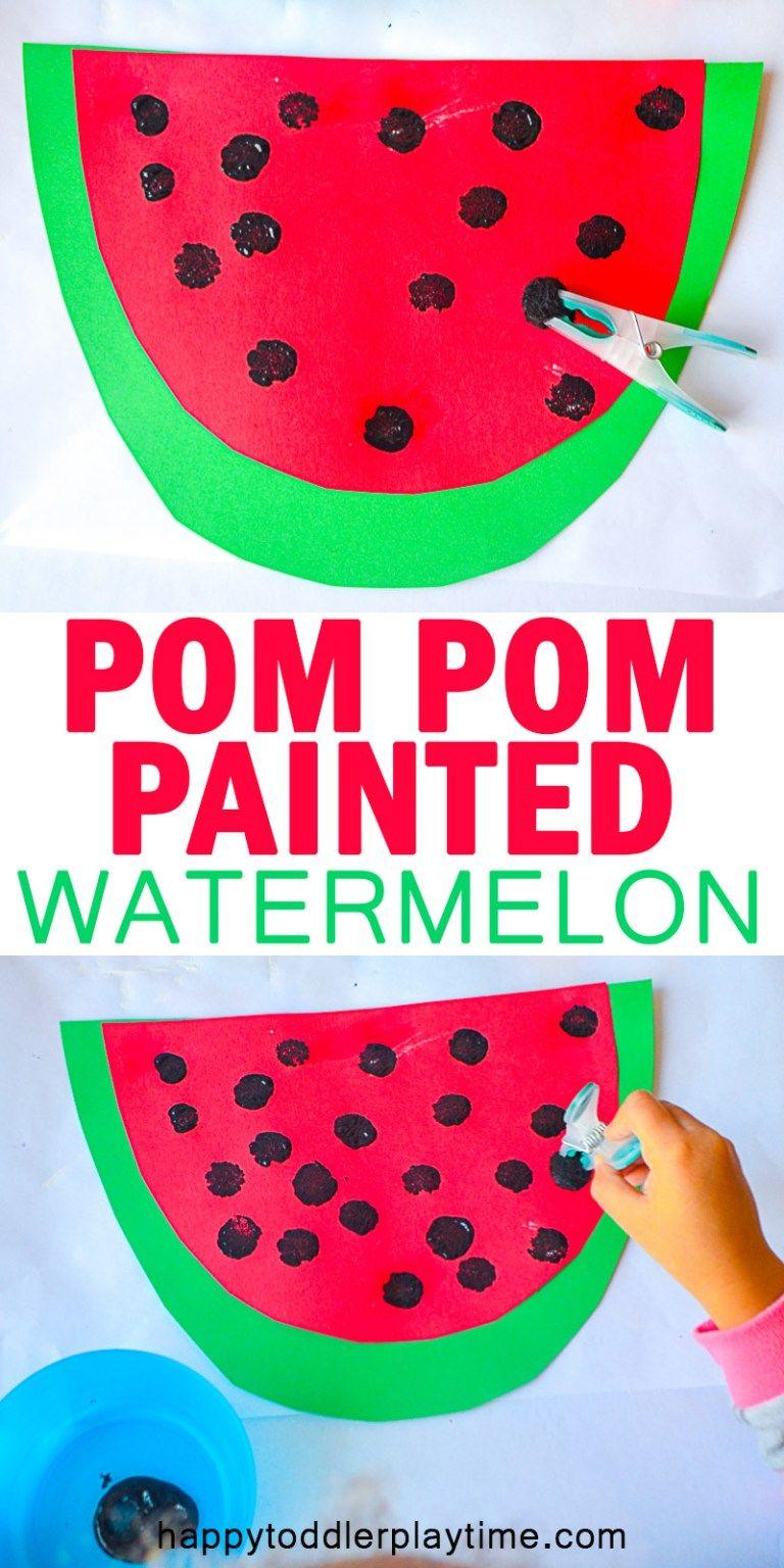 Pom-Pom Painted Watermelon Craft