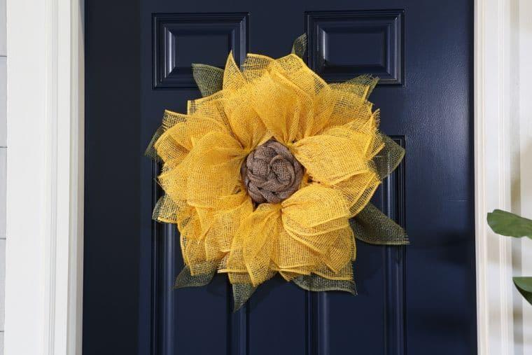 Burlap Mesh Sunflower Wreath