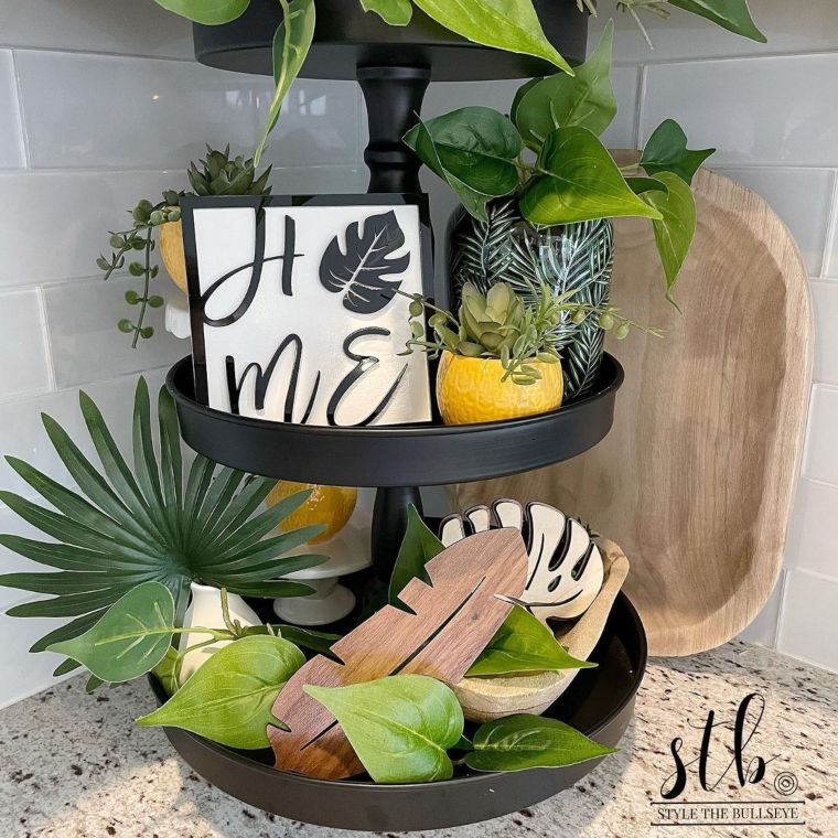 Tropical-Themed Three-Tier Display