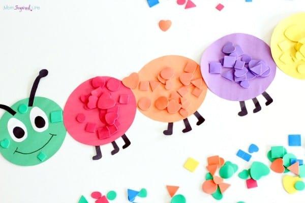 Shape Sorting Caterpillar Craft