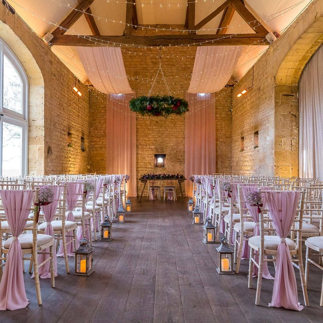 pink chair decor and lanterns