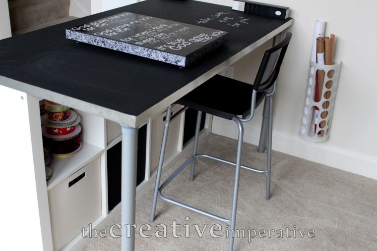 black and white counter desk